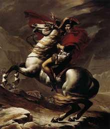 Jacques Louis David (1748-1825): Bonaparte, franchit le Saint Bernard. 1801. huile sur toile, 260 x 221 cm. Rueil, Musée National du Château de Malmaiso