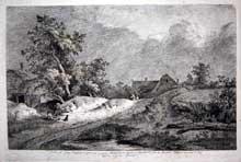 Jean Jacques de Boissieu (1734-1810): Le champ de blé. 1772 . Eau-forte d'après Ruysdael, tirée du Cabinet de Monsieur le Comte de Baudouin