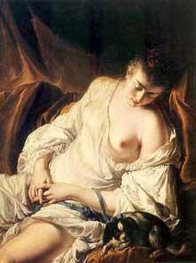Jean Baptiste Deshayes (1729-1768): femme endormie. 1757-58. Huile sur toile, 101,5 x 76 cm. Brème, Kunsthalle