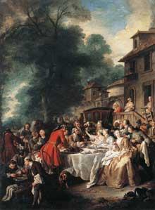 Jean François De Troy (1679-1752): repas de chasse. 1737. Huile sur toile, 241 x 170 cm. Paris, Musée du Louvre.