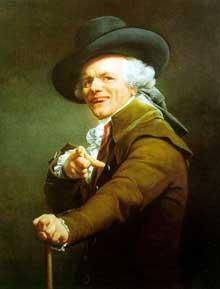Joseph Ducreux (1735-1802) : autoportrait sous les traits d'un moqueur. 1793. Paris, musée du Louvre.