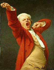 Joseph Ducreux (1735-1802) : autoportrait sous les traits d'un bailleur. 1783. Los Angeles, Musée Paul Getty.