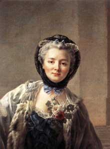 François Hubert Drouais (1727-1775 : madame Drouais, femme de l'artiste. Vers 1758. Huile sur toile, 82,5 x 62 cm. Paris, Musée du Louvre