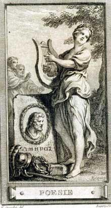 Hubert François Gravelot (1699-1773): la poésie. Eau forte terminée au burin. Tirée de Cochin «Iconologie par figures ou traité complet des allégories, emblèmes etc…» Paris, Lattré 1791.