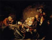 Jean Baptiste Greuze (1725-1805): Le gâteau des rois. 1774. Huile sur toile, 71 x 95 cm. Montpellier, Musée Fabre
