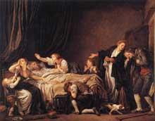 Jean Baptiste Greuze (1725-1805): le retour du fils prodigue. 1778. Huile sur toile, 130 x 163 cm. Paris, musée du Louvre
