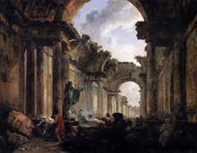 Hubert Robert (1733-1808): vue imaginaire de la Grande Galerie du Louvre en ruines. 1796. Huile sur toile, 114,5 x 146 cm. Paris. Paris, Musée du Louvre