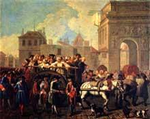 Étienne Jeaurat (1699-1768): arrestation des filles de joie et conduite à la Salpetrière. 1755. Paris, Musée Carnavalet