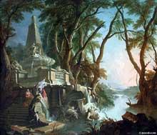 Jacques de Lajoue (1687-1761): paysage composé: la rivière. Vers 1735. Huile sur toile, 102 cm x 82 cm. Paris, Musée du Louvre