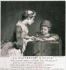 Nicolas Bernard Lépicié: La Maîtresse d'école. d'après une peinture de Jean-Baptiste Siméon Chardin  Burin, 1740 (22,5 x 21,3 cm). Paris, BNF, Estampes