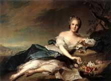 Jean Marc Nattier (1685-1766) : Marie Adélaïde de France en Flora. 1742. Huile sur toile, 94,5 x 128,5 cm. Florence, les Offices