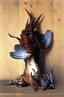 Jean Baptiste. Oudry (1685-1755): nature morte au faisan. 1763. Huile sur toile, 97 x 64 cm. Paris, musée du Louvre