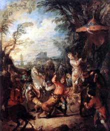 Jean Baptiste Pater (1695-1736): chasse chinoise. 1736. Huile sur toile, 55 x 46 cm. Paris, Musée du Louvre