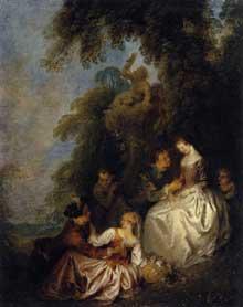Jean Baptiste Pater (1695-1736): conversation galante. 1720-23. Huile sur toile, 48 x 39 cm. Paris, Musée du Louvre
