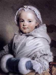 Maurice Quentin De La Tour (1704-1788) : Portrait de Nicole Richard enfant. 1748-1750. Pastel sur papier, 454 x 358 mm. Paris, Musée du Louvre