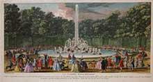 Jacques Rigaud (1681-v.1753): le Bassin D'Encelade. Extrait du «Recueil Choisi des Plus Belles Vue des Palais, Châteaux et Maisons Royale de Paris». Paris, Joubert et Brazin, vers 1780. Gravure originale colorée à une date ultérieure.