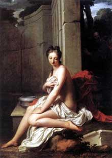 Jean Baptiste Santerre (1658-1717): Suzanne au bain. 1704. Huile sur toile, 205 x145 cm. Paris, musée du Louvre