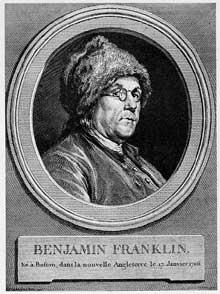 Augustin de Saint-Aubin (1736-1807): Benjamin Franklin, 1777. Gravure d'après un dessin de Charles Chochin