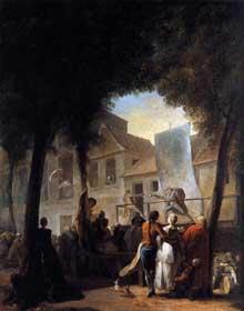 Gabriel de Saint Aubin (1724-1780): la Parade du Boulevard. 1760. Huile sur toile, 80 x 64 cm, Londres, National Gallery