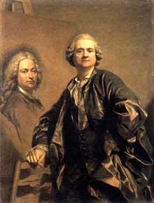 Louis Michel Van Loo (1707-1771): l'artiste avec le portrait de son père. 1762. Huile sur toile, 129 x 198 cm. Versailles, Musée du Château.