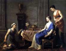 Joseph Marie Vien (1716-1809): la Marchande d'Amours. 1763. Huile sur toile, 117 x 140 cm Musée National du Château, Fontaineblea