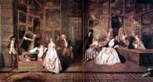 Antoine Watteau (1684-1721): l'Enseigne de Gersaint. 1720. Huile sur toile, 163 x 306 cm. Berlin, palais de Charlottenbourg