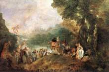 Antoine Watteau (1684-1721): l'embarquement pour Cythère. 1717. Huile sur toile, 129 x 194 cm. Paris, Musée du Louvre