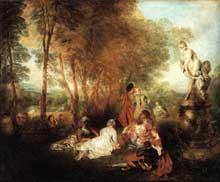 Antoine Watteau (1684-1721): la fête d'amour. 1717. Huile sur toile, 61 x 75 cm. Dresde, Gemäldegalerie