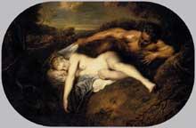 Antoine Watteau (1684-1721): Jupiter et Antiope. 1715-1716. Huile sur toile, 73 x 107 cm (ovale). Paris, Musée du Louvre