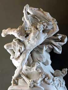 Nicolas Sébastien Adam (1708-1778): Prométhée enchaîné. Marbre, pièce de réception à l'Académie royale, 1762. Paris, musée du Louvre