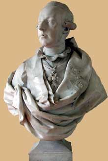 Louis-Simon Boizot: buste de l'empereur JosephII d'Autriche (1765-1790). Marbre, vers 1777. Versailles, le Petit Trianon, antichambre