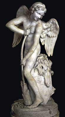 Edmé Bouchardon (1698-1762): Cupidon se fabrique un arc avec le bâton d'Hercule. 1750. Marbre, 173 cm. Paris, Musée du Louvre