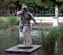 Guillaume I Coustou (1677-1746) : Daphné poursuivie par Apollon. Paris, parc des Tuileries