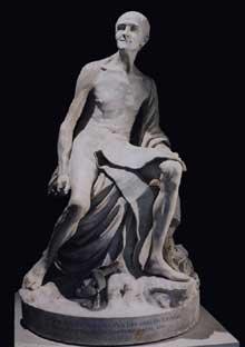 Jean Baptiste Pigalle (1714-1785): Voltaire Nu. 1776. Marbre, 150 cm. Paris, Musée du Louvre.