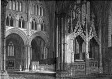 Lincoln, cathédrale: le chœur. Lithographie de 1819