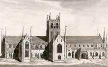 Worcester: la cathédrale. Dessin du XIXè