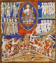 L'Apocalypse du Trinity College: le jugement dernier, folio 24v; 1255-1260, Cambridge MSR16