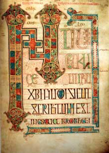 Folio du livre de Lindisfarne en Northumbrie (parfois appelé Evangéliaire de Durham ou de Cuthbert). Folio 94. Vers 698. Londres, British Museum
