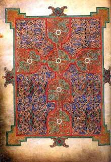 Folio du livre de Lindisfarne en Northumbrie (parfois appelé Evangéliaire de Durham ou de Cuthbert). Folio 26v. Vers 698. Londres, British Museum