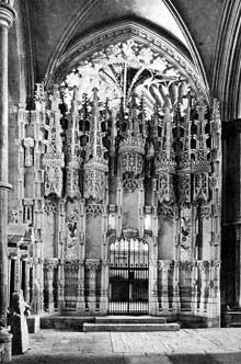 Ely, cathédrale: «Chantry chapel» de l'évêque John Alcock. Vers 1500. L'entrée de la chapelle. (Histoire de l'art - Quattrocento