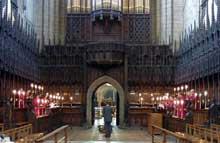 Ripon, cathédrale: vue générale des stalles. Vers 1500. (Histoire de l'art - Quattrocento