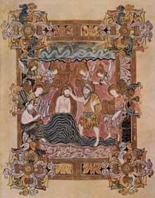 Le «Benedictional d'Aethelwold», vers 975: le baptême du Christ. Ecole de Winchester. Londres; British library