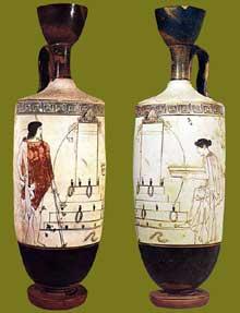 Lécythe attique à fond blanc du «Peintre de Bosanquet» trouvé à Erétrie. Vers 440 avant JC. Athènes, Musée National. (Art grec)