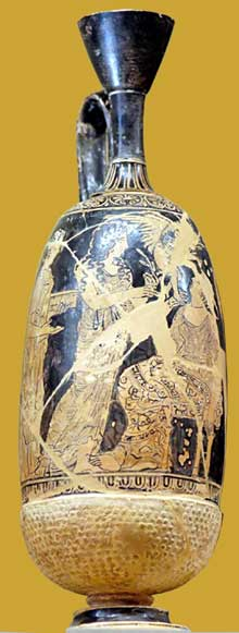 Lécythe attique du peintre de Meidias. Femme avec Aphrodite et Eros. Vers 410-400. Hauteur: 17,4cm. Diamètre: 5,6cm. Paris, Musée du Louvre.  (Art grec)