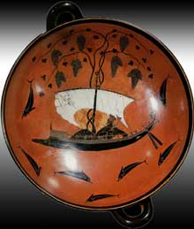 Exékias: Kylix représentant Dionysos sur un bateau. Intérieur de la coupe. Vers 540. Diamètre: 30cm. Munich, Glyptothèque. (Art grec)