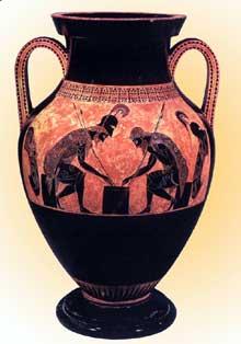 Exékias: Achille et Ajax jouent aux dés. Amphore à figures noires. 540-530. 61 cm. Rome, Musée du Vatican. (Art grec)