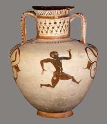 Amphore de Milet à figures noires de style «Fikurella» trouvée à Kamiros sur l'île de Rhodes. Vers 550. (Art grec)