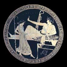 Coupe en céramique à figures rouges formant une scène de banquet. Vers 490–480. Attribué au peintre de Brygos (actif entre 490 et 470). Diamètre:32 cm. Hauteur:12,7cm. Trouvée à Vulci.Londres, British Museum.  (Art grec)