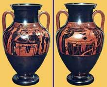 Le peintre d'Andokidès (actif entre 535 et 515): Amphore à figure noire et à figure rouge représentant Athéna et Héraklès. Vers 520 avant JC. 54cm. Munich, Antikensammlung. (Art grec)
