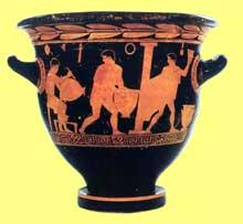 L'atelier du potier. Cratère attique à figures rouges; Athènes, vers 430 avant JC. Oxford, Ashmolean Museum. (Art grec)